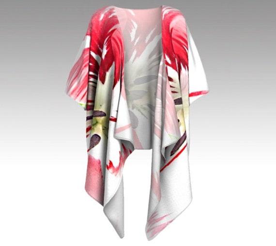 Painted Flower Draped Kimono | Beach Cover Up | Womens Kimono Jacket