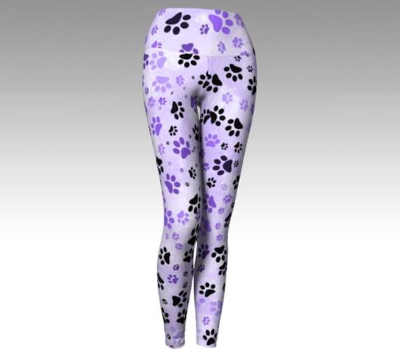Lilac Dog Paw Leggings | Paw Print Yoga Leggings | Lilac Paw Print Leggings