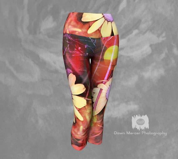 Flower Art Capris | Womens Yoga Capris | Floral Capri Leggings
