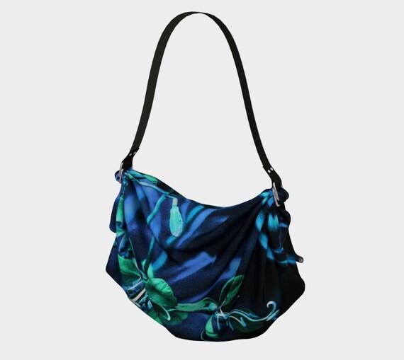 Floral Origami Tote Printed Blue Green Flower Art Origami Tote Bag Custom Printed Artist Designed