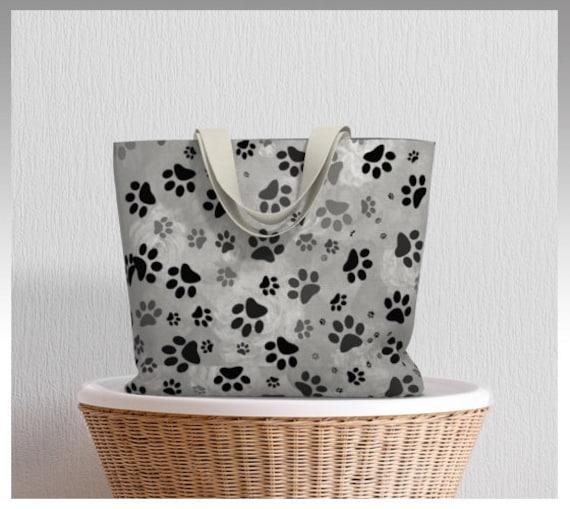 Grey Dog Paw Print Tote Bag   Large Paw Design Canvas Tote