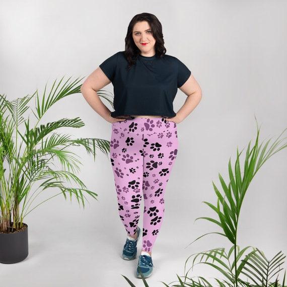 Pink Paw Plus Size Leggings | Dog Paw Tights | Yoga Pants | Gym Wear | Activewear