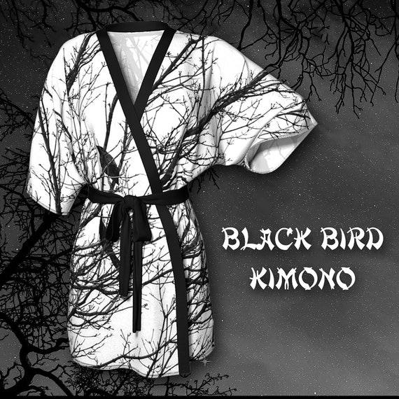 Black Bird Kimono Robe Womens Printed Kimono Robe Artist Designed