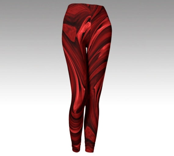 Red Painted Leggings | Womens Printed Leggings | Workout Tights