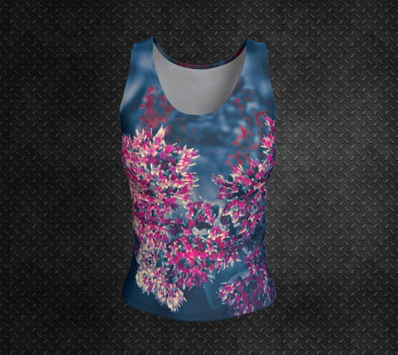 Floral Tank Top Fitted Blue Pink Tank Top Floral Print Tank Pink Flower Print Tank Top Ladies Tank Top Womens Fitted Tank Top Art Print Tank