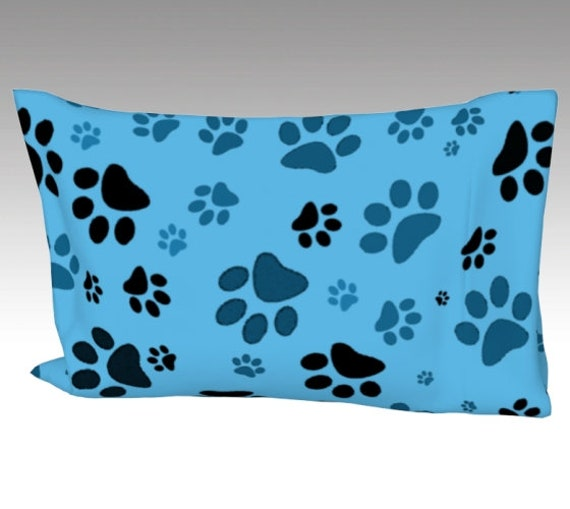 Blue Paw Print Pillow Case   Dog Paws Pillow Cover   Bed Pillow Sleeve