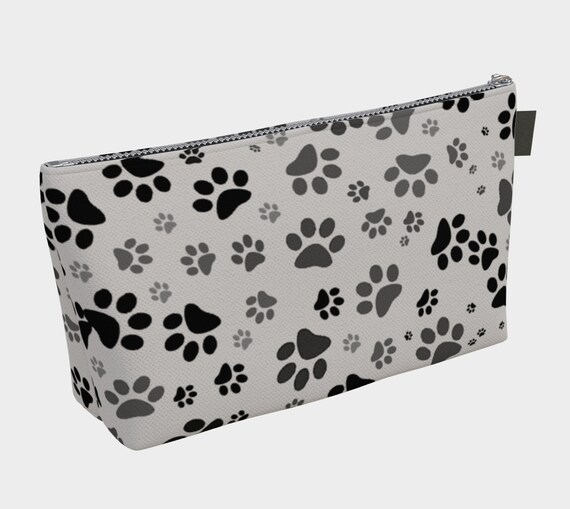 Paw Print Makeup Bag | Dog Paw Cosmetic Bag | Grey Paws Makeup Pouch | Carry-All | Toiletry Bag