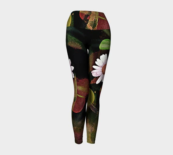 Flower Yoga Pants Daisy Leggings Printed Athletic Leggings Art Print Leggings Compression Fit, High Waist with Wide Waistband, FREE SHIPPING