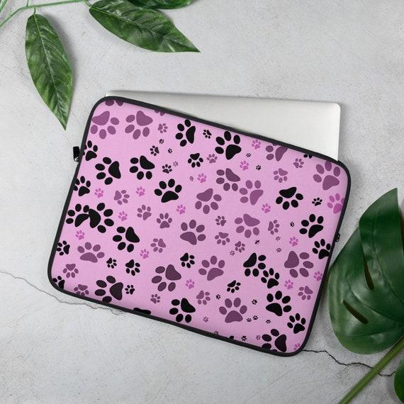 Paw Print Laptop Sleeve   Dog Paw Laptop Case   Pink Paw Laptop Sleeve   Custom Printed   Artist Designed