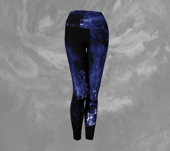 Blue Flame Leggings Womens Flame Print Yoga Leggings Custom Printed Artist Designed FREE SHIPPING