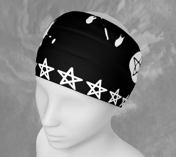 Headband Black Wiccan Style, Cool Black and White Headband, Scarf, Hairband, Artist Designed Custom Printed