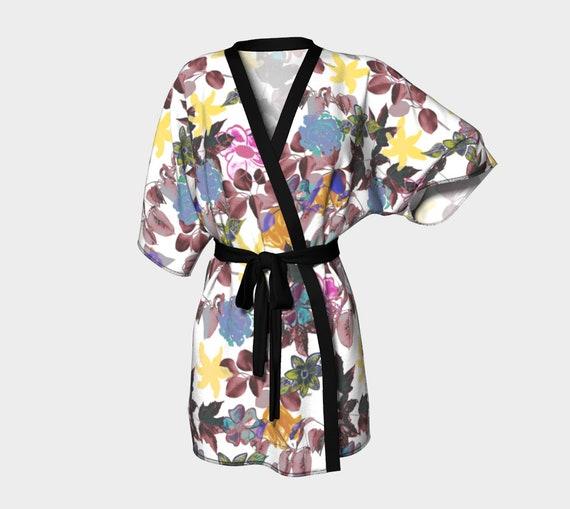 Flower Leaf Kimono Robe Silky Kimono Robe Chiffon Kimono Robe Ladies Unique Kimono Robe Womens Printed Kimono Robe Black Birds Art