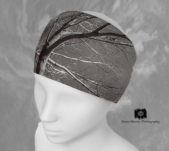 Headband Tree Print Headband Black And White, Athletic Headbands, Scarf, Hairband, Workout HairBand, Face Warmer, Artist Designed