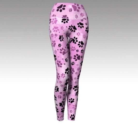 Pink Dog Paw Leggings | Paw Print Yoga Leggings | Pink Paw Print Leggings