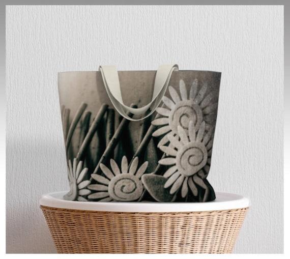 Daisy Craft Tote Bag | Unique Art Print Market Tote | Shopper Bag | Carryall