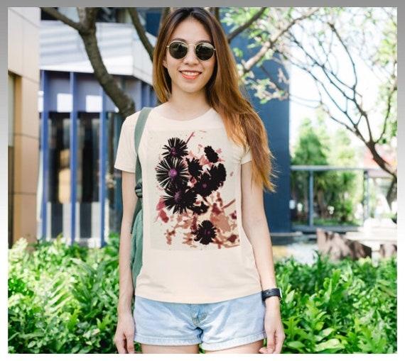 Flower Art T Shirt Womens Tee Shirt