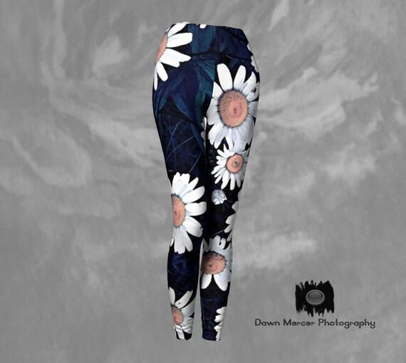 Daisy Art Leggings Daisy Flower Leggings Womens Printed