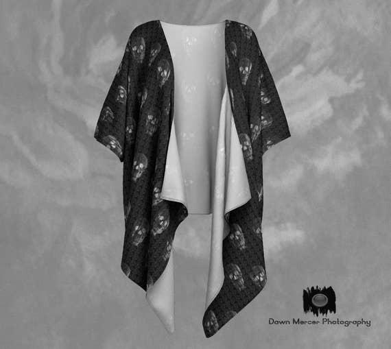 Skull Print Draped Kimono | Skull Kimono Jacket | Skull Art Cover Up
