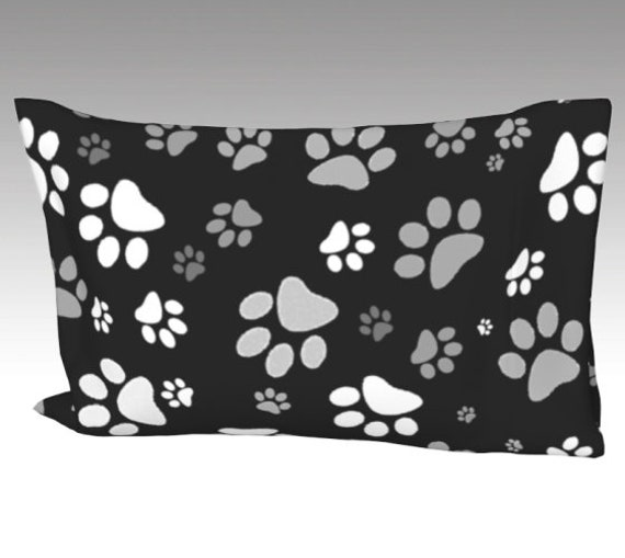 Paw Print Pillow Case   Dog Paws Pillow Cover   Bed Pillow Sleeve   Black White Paws Design
