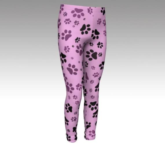 Pink Paw Girls Leggings   Dog Paw Girls Tights   Printed Paw Pants