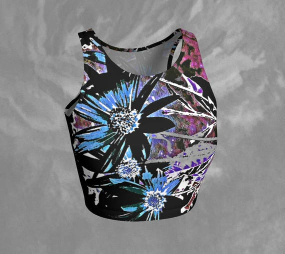 Floral Crop Top Flower Art Crop Top Printed Artsy Athletic Crop Top Sleeveless Yoga Top Tight Crop Top Fitted Workout Top Womens Activewear