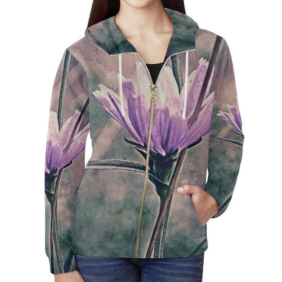 Flower Art Hoodie Womens Zip Up Custom Printed Flower Hoodie All Over Print Hoodie Artist Designed FREE SHIPPING