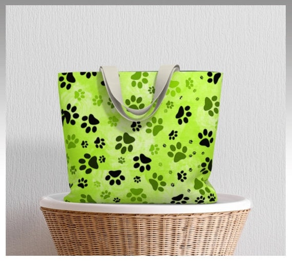 Dog Paw Tote Bag | Paw Print Market Tote Lime Green