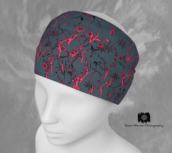 Floral Print Headband Grey Pink Fashion Hair Band Bandana Flowers Womens Scarf Head Band Hair Band High Quality Fabric Interchangeable