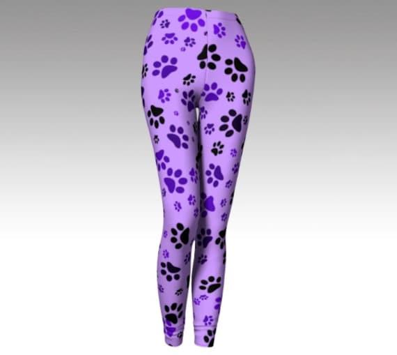 Purple Paw Print Leggings | Dog Print Tights | Yoga Pants | Workout Wear Womens