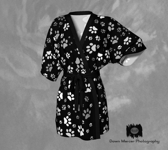 Dog Paw Kimono Robe   Paw Print Robe   Dog Print Kimono