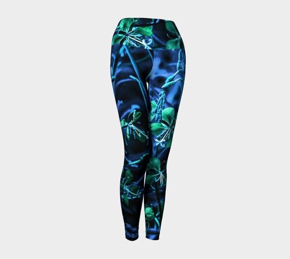 Floral Yoga Leggings Artsy Flower Leggings For Women Custom Printed Artist Designed FREE SHIPPING