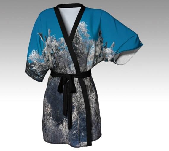 Icy Tree Kimono Robe Nature Kimono Printed Silk Kimono Lounge Robe For Women Bath Robe Kimono Silky Knit Robe Chiffon Kimono Robe