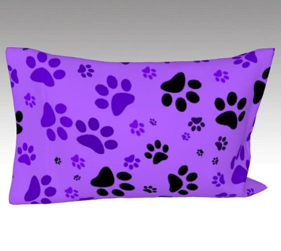 Paw Print Pillow Case   Dog Paws Pillow Cover   Bed Pillow Sleeve   Purple Paws Design