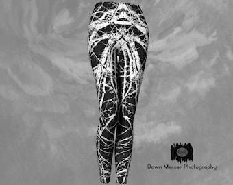 Cool Print Leggings Black White Abstract Tree Branch Art Yoga Pants Tights Artsy Leggings Womens Activewear, Designer Premium Leggings
