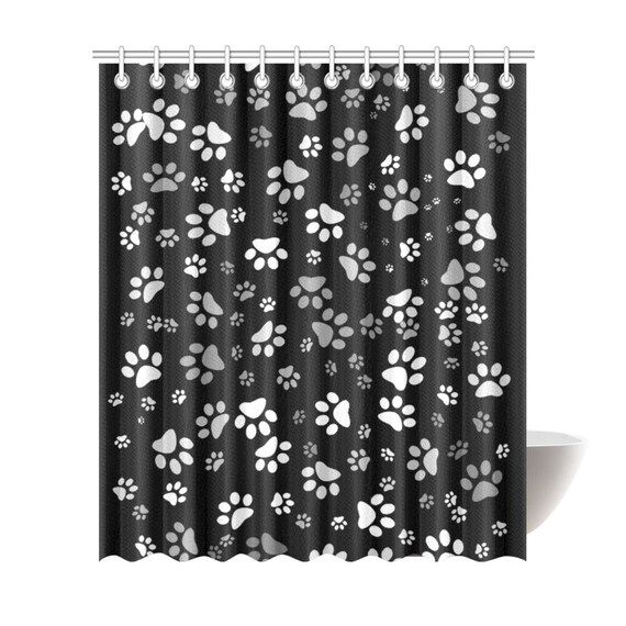 Dog Paw Print Shower Curtain   Black White Dog Paw Bath Curtain