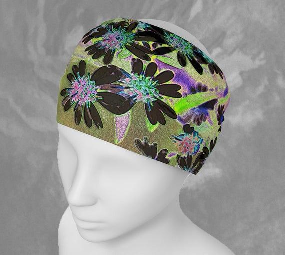 Funky Flowers Headband Floral Art Hair Band Bandana Stretchy Soft Fabric Scarf Premium Quality Custom Printed Artist Designed