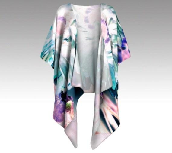 Flower Art Draped Kimono | Floral Kimono | Kimono Jacket