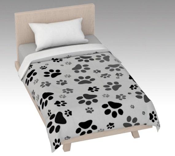 Paw Print Duvet Cover | Grey Paw Duvet Cover | Dog Paw Design | Custom Printed | Artist Designed
