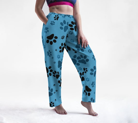 Blue Paws Lounge Pants   Paw Print Bottoms   Dog Paw Sleep Pants   Lightweight   Casual   Relaxed Fit