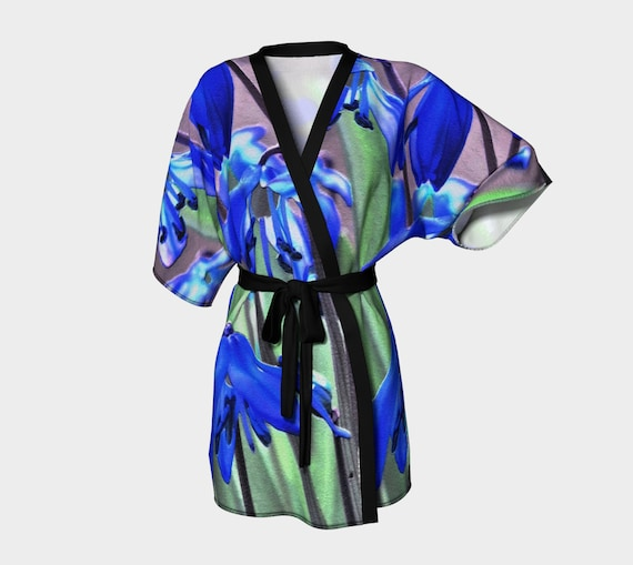 Blue Floral Kimono Robe Printed Womens Kimono Flower Art Print Lounge Robe Bathrobe