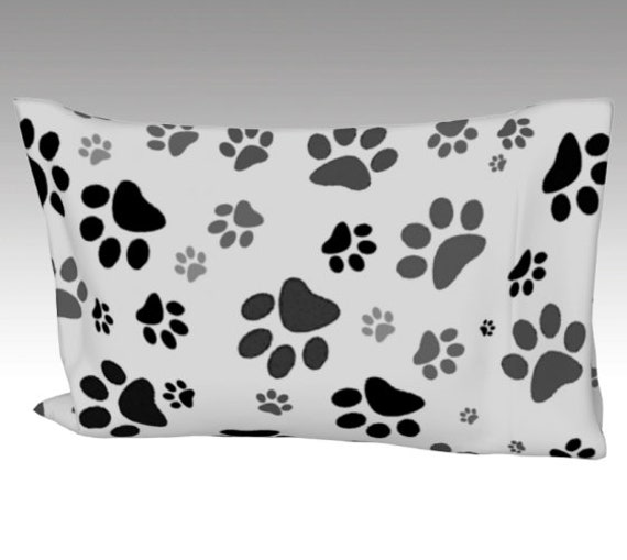 Paw Print Pillow Case   Dog Paws Pillow Cover   Bed Pillow Sleeve