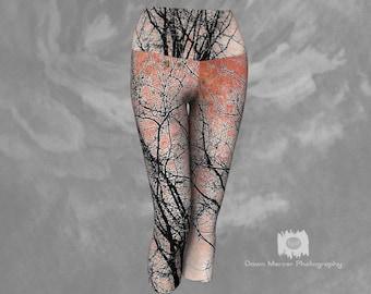 Yoga Capris Tree Print Artistic Tree Print Capri Leggings Womens