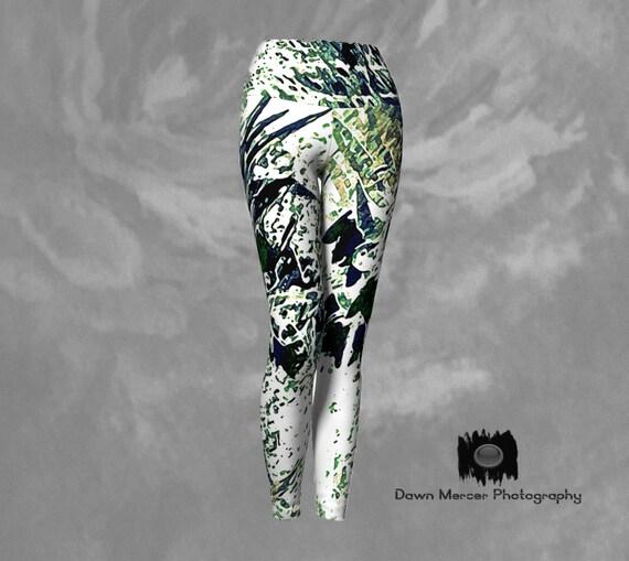Nature Art Yoga Leggings Nature Abstract Printed Art Leggings For Women Custom Printed Artist Designed FREE SHIPPING