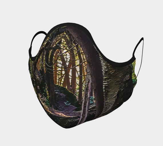 Forest Art Face Mask Nature Printed Art Face Covering Artist Designed Custom Printed Available In Adult and Youth Sizes