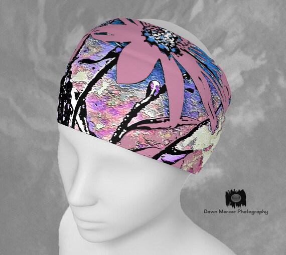 Pink Flower Headband Fabric Hairband Pink Floral Bandana Art Scarf Headband Womens Fashion Hair Accessories Artist Designed