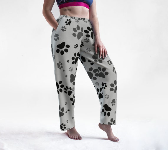 Grey Paws Lounge Pants | Paw Print Bottoms | Dog Paw Sleep Pants | Lightweight | Casual | Relaxed Fit