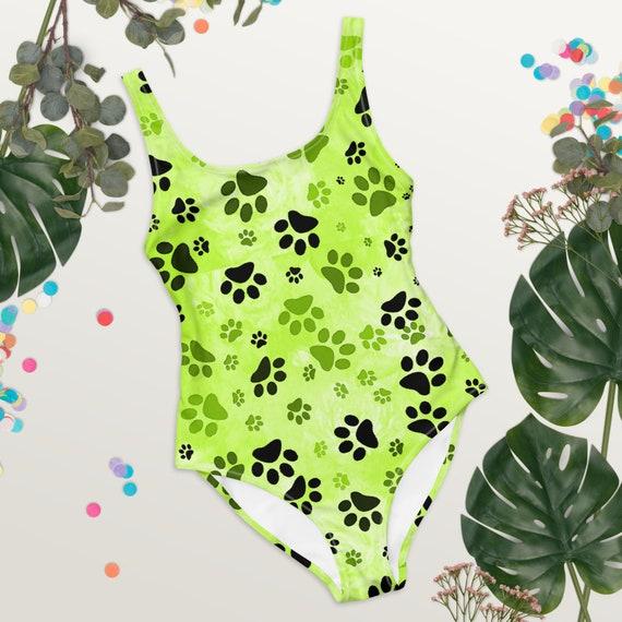 Green Paw Swimsuit   Paw Print One Piece Swimsuit   Printed Swimwear For Women