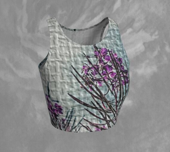 Floral Crop Top Sleeveless Tight Top Cropped Tank Top Designer Crop Top Unique Crop Tank Yoga Crop Top Floral Printed Crop Top For Women