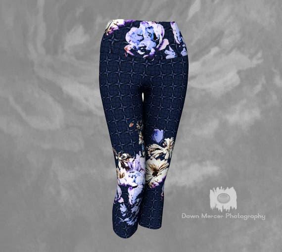 Floral Capri Leggings | Flower Art Yoga Capris | Capri Tights