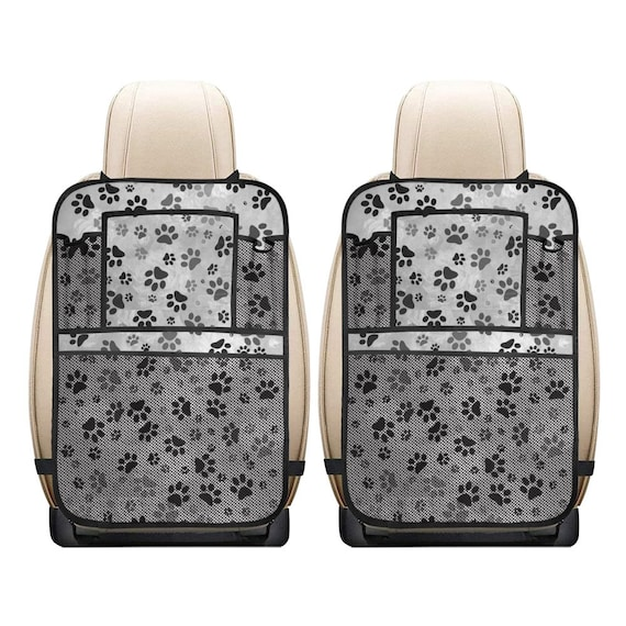 Dog Paw Car Seat Organizer | Grey Black Paw Print Car Seat Accessory